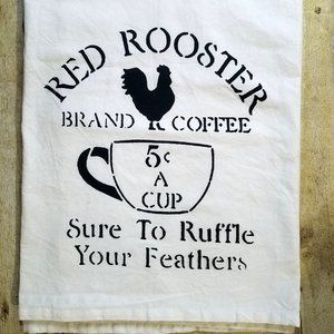 Red Rooster Feed Sack Kitchen Towel